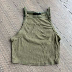 Forever 21 Olive Green Ribbed Crop Tank